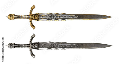 Foto long sword with skull and bones on an isolated white background