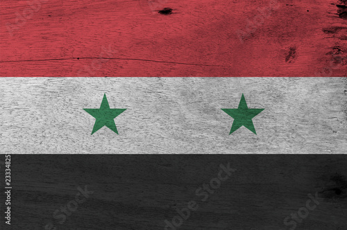 Flag Of Syrian Arab Republic On Wooden Plate Background Grunge