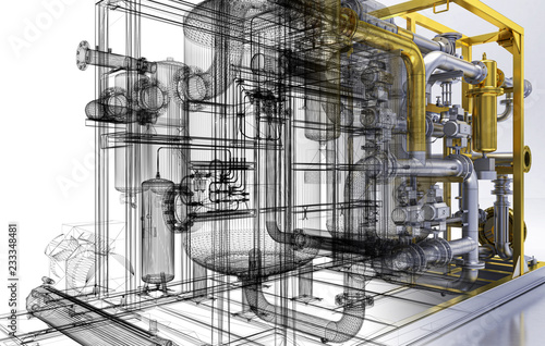 Impianto di pompe, piping, BIM, illustrazione 3d Canvas Print