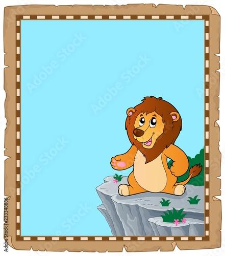 Staande foto Voor kinderen Lion theme parchment 2