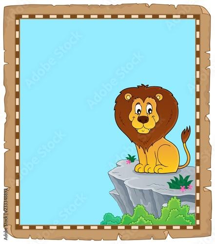 Staande foto Voor kinderen Lion theme parchment 3