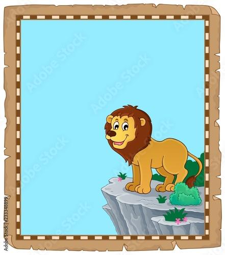 Staande foto Voor kinderen Lion theme parchment 1