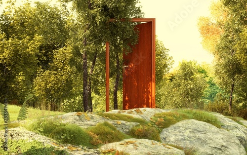 Fotomural Porta fatata nel mezzo della foresta, magia, illustrazione 3d