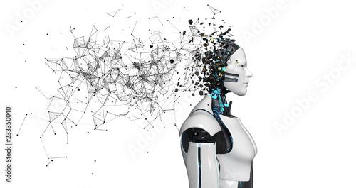 Fototapeta  Robot Fragmented Head Networks White