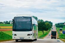 White Tourist Bus On Road Poland