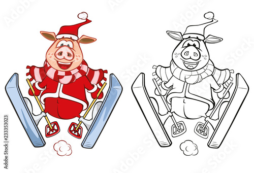 Tuinposter Babykamer Vector Illustration of a Cute Pig. Cartoon Character. Coloring Book. Outline