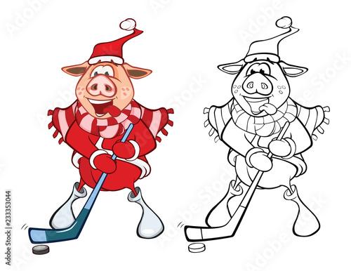 Papiers peints Chambre bébé Illustration of a Cute Pig. Cartoon Character. Coloring Book. Outline