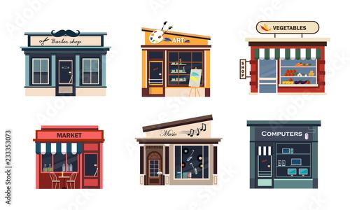 Fotografia Facades of various shops set, barbery, art, vegetables, market, music, computers