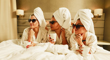 Friends In Towels And Bathrobe...