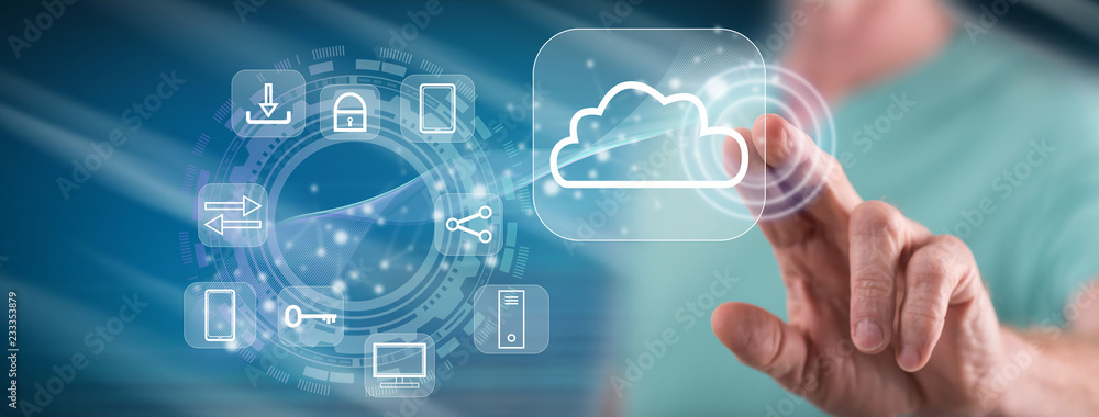 Fototapeta Man touching a cloud computing concept