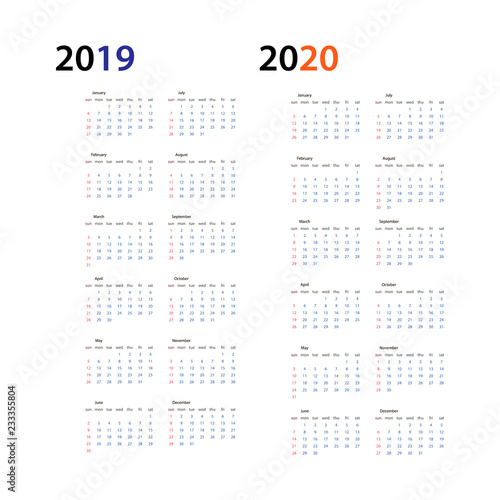 Fototapeta Year 2019 and Year 2020 calendar horizontal vector design template, simple and clean design. Calendar for 2019 and 2020 on White Background for organization and business. Week Starts Sunday. obraz na płótnie