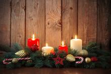 Christmas Wreath On Old Dark Background