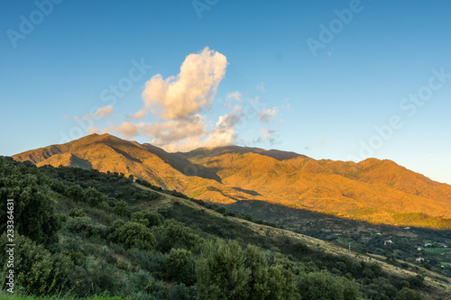 Sunset reflecting of the mountains, Andalucia in Spain