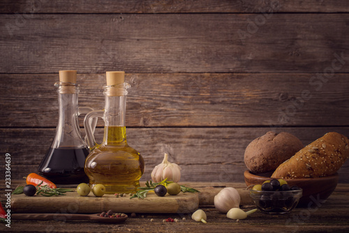 Foto op Canvas Aromatische olive oil flavored with spices and other ingredients