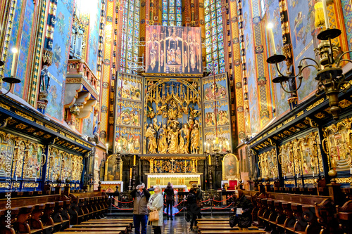 Fototapeta High Altar by Veit Stoss (Dates from 1478) Church of St Mary in the Main Square (Rynek Glowny), Krakow, Poland. 10-12-2015 obraz