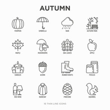 Autumn Thin Line Icons Set: Ma...