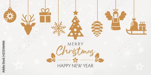 Fotografía  Merry Christmas Weihnachtskarte mit goldenen dekorativen Elementen im din lang F