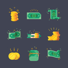 Icons Of Dollar Banknotes With...