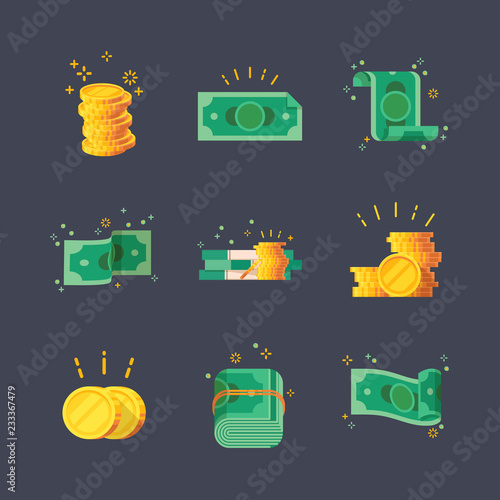 Icons of dollar banknotes with golden coins. Canvas Print