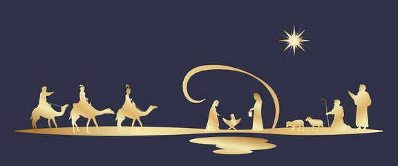 Christmas time. Nativity scene with Mary, Joseph, baby Jesus, shepherds and three kings.