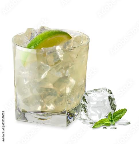 Caipirinha gimlet vodka or gin glass isolated on white background Canvas Print