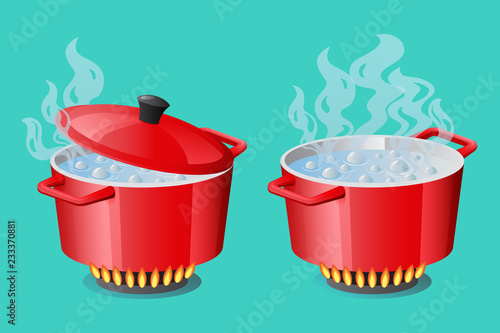 Fotografija Set red pans with boiling water, opened and closed pan lid on gas stove, fire an