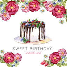 Cake Flower Watercolor Card. S...