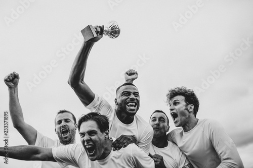 Soccer players team celebrating their victory Canvas Print