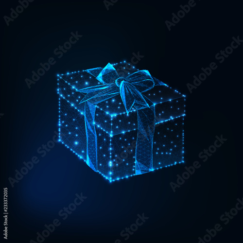Foto  Glowing low polyg gift box with ribbon bow made of stars, lines, triangular shap