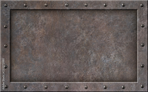 Deurstickers Metal old metal steam punk frame 3d illustration