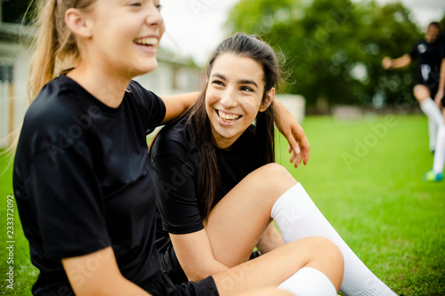Female football players and friendship concept Canvas Print