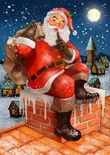 Hand Drawn Santa Claus Making A Silence Gesture