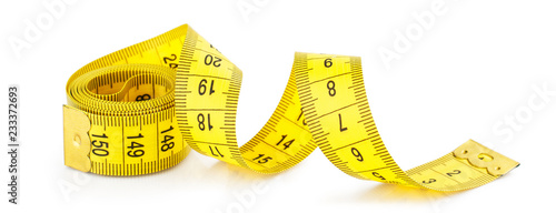 Yellow measuring tape isolated on white background Fototapeta