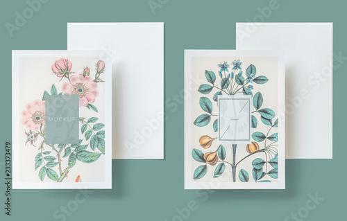 Pinturas sobre lienzo  Floral wedding invitation card mockup