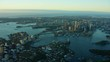 Aerial cityscape view of Sydney Harbour Bridge and Bay Australia