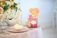 Pink Cake For Little Princess With Crown And Yellow Marshmallows.