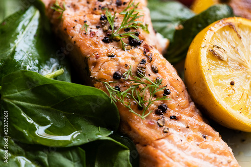 Grilled salmon filet with fresh greens