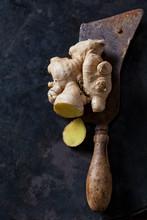 Sliced Ginger Root On An Old K...