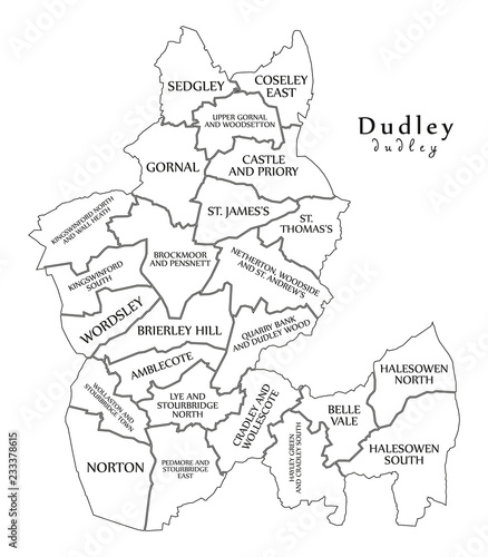 City Map Of Uk.Modern City Map Dudley City Of England With Wards And Titles Uk