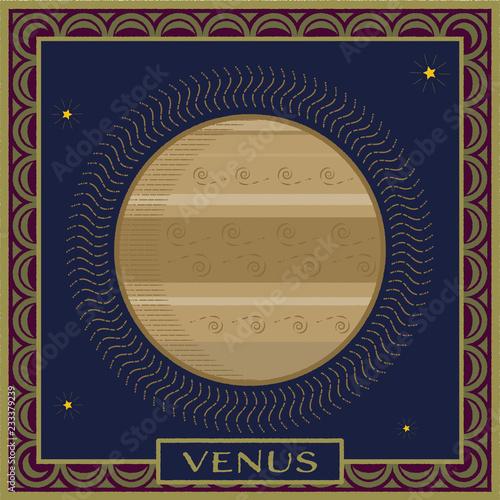 Fotografie, Obraz  planet venus   celestial illustration with frame and name plate