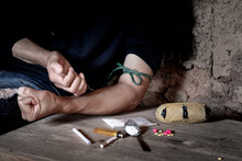 Boy Drugs Addicted Injecting Heroin In His Arm
