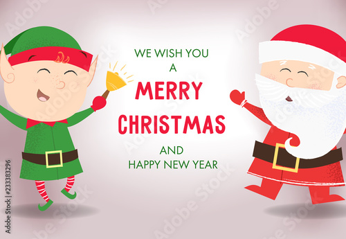 Photographie  We wish you merry Christmas and happy New Year poster template design