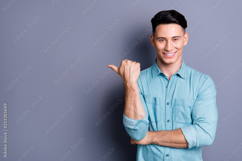 Fototapety, obrazy: Portrait of nice cute attractive cheerful handsome man wearing b