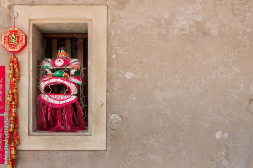中華風の壁