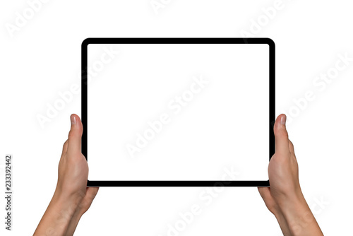 Digital tablet in hands. Isolated on white background