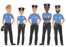 Group Of Cartoon Security Police Officers. Woman And Man Police Cops Vector Characters.