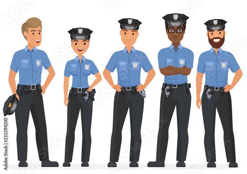 Cuadros en Lienzo Group of cartoon security police officers