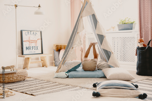 Sensational Child In Tent In Bright Playroom Interior With Fox Poster On Theyellowbook Wood Chair Design Ideas Theyellowbookinfo