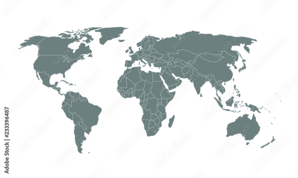 Fototapety, obrazy: World map isolated on white background, vector