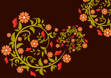 Bright Floral Ornament With Bu...